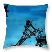 Paris Is Falling Down Throw Pillow by Jera Sky