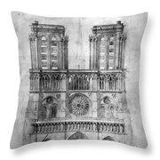 Paris: Notre Dame, 1848 Throw Pillow