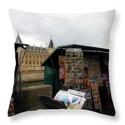 Paris Street Vendor 2 Throw Pillow