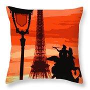 Paris Tour Eiffel Red Throw Pillow