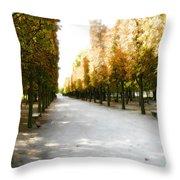 Parisian Park Walkway Throw Pillow