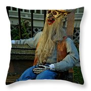Park Bench Ghoul Throw Pillow