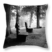 Park Bench In Black And White Throw Pillow