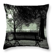 Park Benches In Autumn Throw Pillow by Joana Kruse