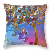 Park Guell. General Impression. Throw Pillow