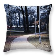 Park Path At Dusk Throw Pillow