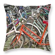 Parking Bicycles In Mako Throw Pillow
