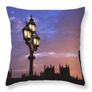 Parliament And Light At Sunset Throw Pillow
