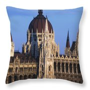 Parliament Buildings On River Danube Throw Pillow