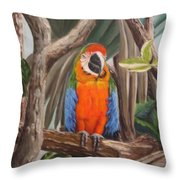 Parrot At New Orleans Zoo Throw Pillow