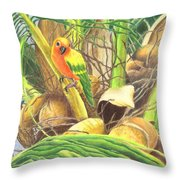Parrot In Palm Throw Pillow