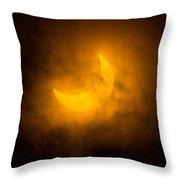 Partial Solar Eclipse Through Fog Throw Pillow