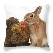 Partridge Pekin Bantam With Rabbit Throw Pillow