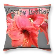 Party Invitation - Amaryllis Flowers Throw Pillow