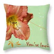 Party Invitation - Orange Day Lily Throw Pillow
