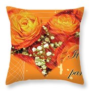 Party Invitation - Orange Roses Throw Pillow