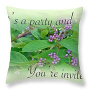 Party Invitation - General - American Beautyberry Shrub Throw Pillow by Mother Nature