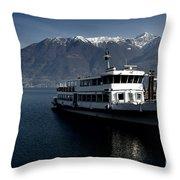 Passenger Ship On The Lake Throw Pillow