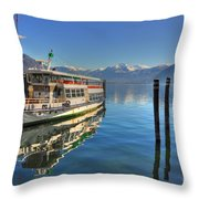 Passenger Ship Reflected On The Water Throw Pillow
