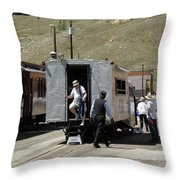 Passengers Getting Off The Galloping Goose Throw Pillow