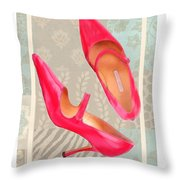 Passion Pink Strapped Pumps Throw Pillow