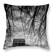 Past The Woods Throw Pillow