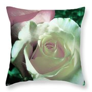 Pastel Pink And White Rose Throw Pillow