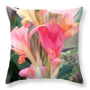 Pastel Pink Cannas Throw Pillow