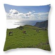 Pastoral Landscape Of Santa Maria Island Throw Pillow