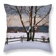 Pastoral View Of A Farm Covered In Snow Throw Pillow