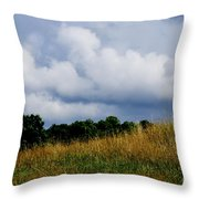 Pasture Field And Stormy Sky Throw Pillow