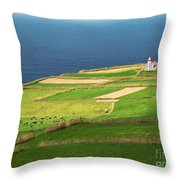 Pastures And Lighthouse Throw Pillow