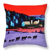 Pastures And Pond Throw Pillow by Randall Weidner