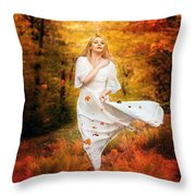 Path Of Fall Throw Pillow