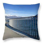 Path On An Alpine Lakefront Throw Pillow
