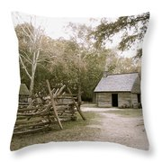 Path To Log Cabin Throw Pillow