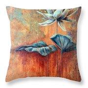 Patina Lotus Throw Pillow