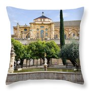 Patio De Los Naranjos At Mezquita In Cordoba Throw Pillow