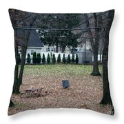 Patio View Of An Autumn Day Throw Pillow