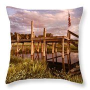 Patriotic Dock Throw Pillow
