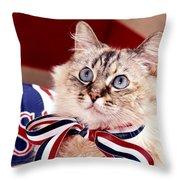 Patriotic Puddy Cat Throw Pillow