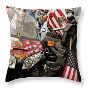 Patriotism Rides Throw Pillow