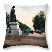 Paul Riquet Statue And The Allees In Beziers - France Throw Pillow