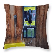Pay Phone And Book Wooden And Yellow Throw Pillow