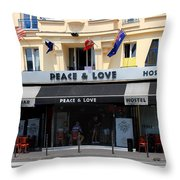 Peace And Love Hostel Throw Pillow