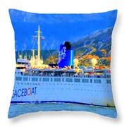 Peace Boat Along South America Coastline Throw Pillow