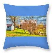 Peaceful Farm In Autumn Throw Pillow