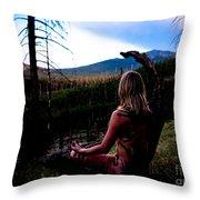 Peaceful Meditation - Nude Throw Pillow
