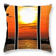 Peaceful Sunset Triptych Series Throw Pillow