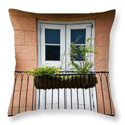 Peach Balcony Throw Pillow
